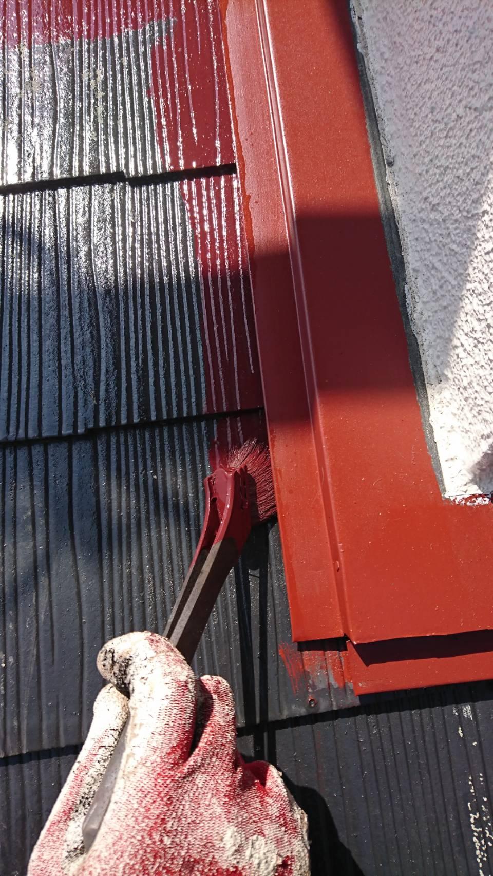 大分市上白木 屋根上塗り作業